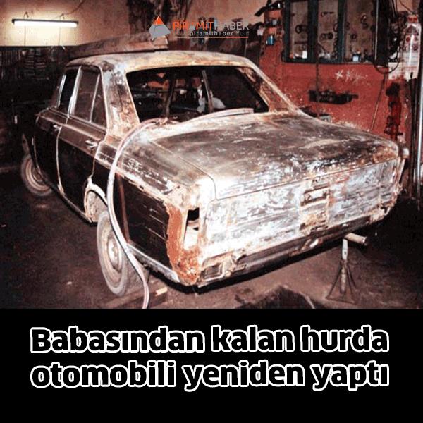 Kilimli Sanayi Sitesi'nde Otomobil motor tamircisi Mustafa Sekmen, 2 yıl önce ölen babası İbrahim Sekmen'den kalan Ford'un 1973 model hurda otomobili yenilemeye karar verdi.