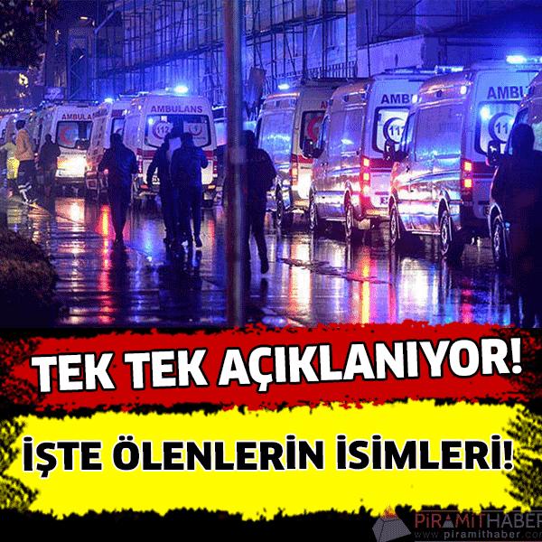 Reina saldırısında ölenlerin kimlikleri tek tek tespit ediliyor. Türkiye'nin ünlü eğlence mekanlarına Reina'da dün gece saat 01.00'de gerçekleşen saldırıda 39 kişinin hayatını kaybettiği açıklanmıştı. İşte Reina saldırısında ölenlerin isimleri: