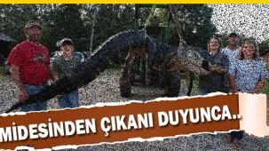 Dev timsahın içinden 100 kiloluk geyik çıktı