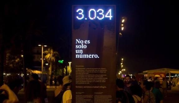 Barcelona'da Yerleştirilen 'Utanç Panosu'