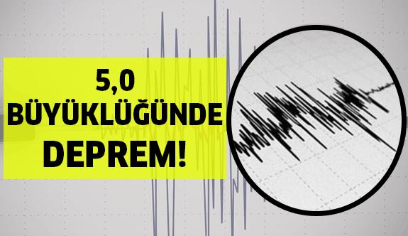 5,0 Büyüklüğünde deprem meydana geldi!