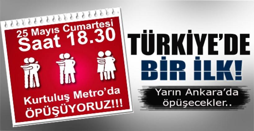 Ankara metrosunda öpüşecekler