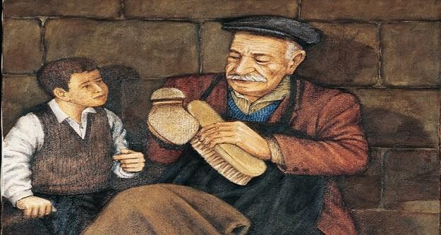 Ayakkabıcı ile çocuk