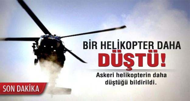 Bir helikopter daha düştü