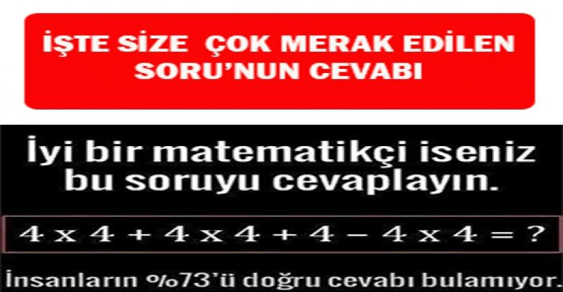 Cevabı Merak Edilen Matematik Sorusu