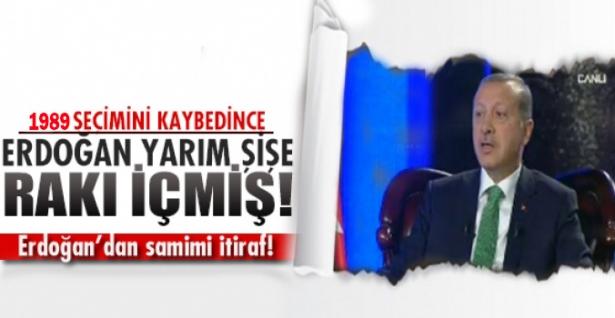 Erdoğan'dan samimi itiraf! Yarım şişe rakı içmiş!