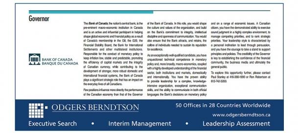 Kanada, ilanla merkez bankası başkanı arıyor