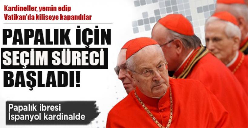 Kardineller, yemin edip Vatikan'da kiliseye kapandılar