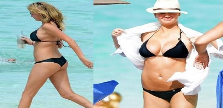 Kate Upton, siyah bikinisiyle film setinde!