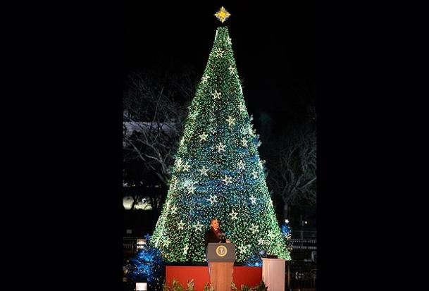 Obama ailesi 'Noel Ağacı'nın ışıklarını yaktı