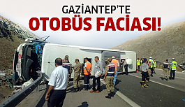 Gaziantep'te yolcu otobüsü devrildi!