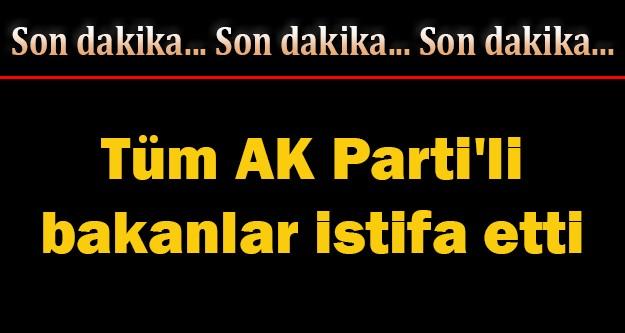 Tüm AK Parti'li bakanlar istifa etti