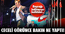 Türk bayrağını indirmeye çalışınca..