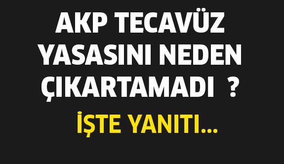 AKP 'Tecavüz Yasasını' Niçin Çıkartamadı !