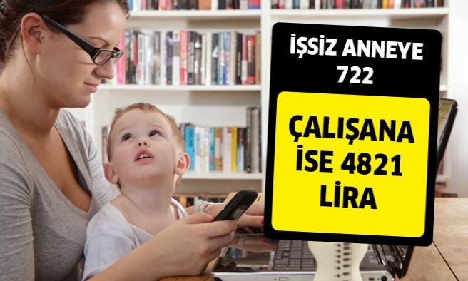 İşsiz Anneye 722,Çalışan Anneye 4821 Lira İçin Sadece...