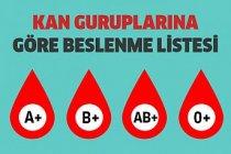 Kan Gruplarına Göre Beslenme Listesi
