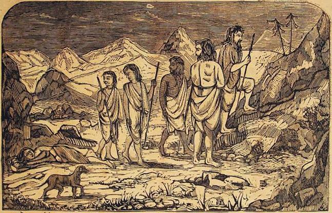 Bir köpek, peşlerinde olarak, Sumeru Dağı'na doğru yola çıkan Pandavalar