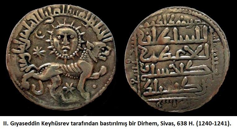 II. Gıyaseddin Keyhüsrev tarafından bastırılmış bir Dirhem, Sivas, 638 H. (1240-1241).