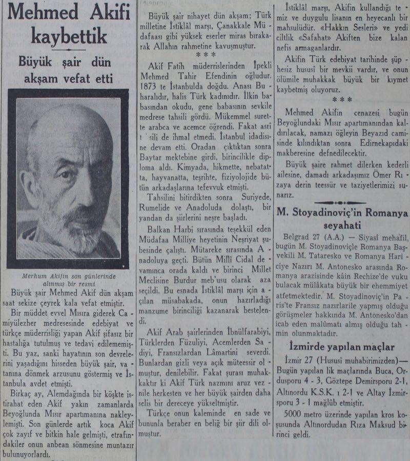 Mehmet Akif'in ölümüyle ilgili bir gazete haberi (Cumhuriyet, 28 Aralık 1936).