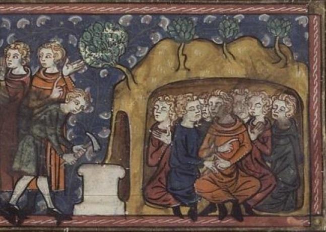 Yedi Uyurları tasvir eden bir Orta Çağ el yazması.